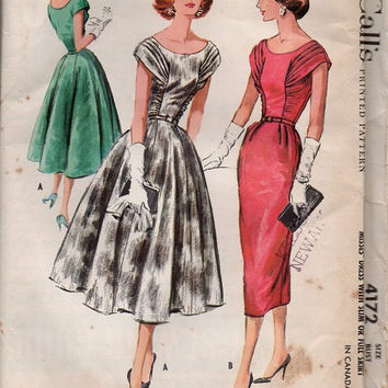 Vintage McCall's 1950s Sewing Pattern 4172 Full Circle Skirt Tea Dress Shirred Fitted Bodice Wiggle Cocktail Dress Uncut FF Bust 38