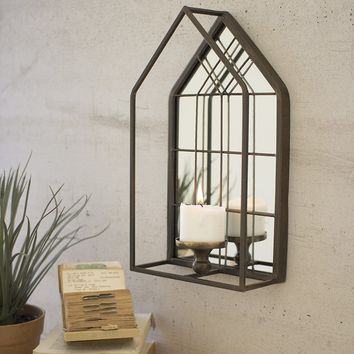House Shape Wall Mirror With Candle Holder