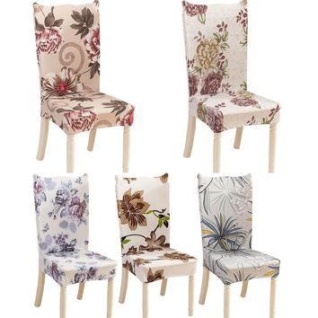 Modern Minimalist Floral Printing Spandex Elastic Dining Chair protective Slipcover Case Removable Dustproof Stretch Chair Cover