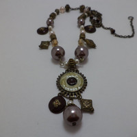 Beautiful, Bronze, Purple, Pink, Rose, Pearl, Enamel, Pendant, Hand Wired, Glass Bead, Necklace