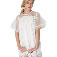 Mesh Lace Short Sleeve Pleated Mini Shift Dress