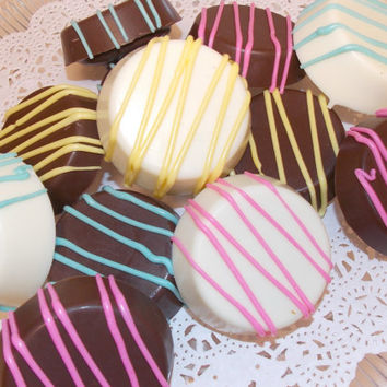 "SALE 30% OFF Chocolate Covered ""Double Stuffed"" Oreos, One Dozen, Baby Shower/Bridal Shower/Wedding Favors"