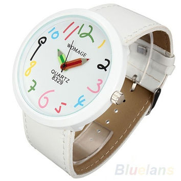 Women Big Case Pointer Girls Leather Strap Quartz White Pencil Wrist Watch = 1931723972