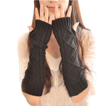 Women Knitted Crochet Long Fingerless Elbow Gloveitten Warm Gloves SM6