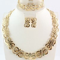 wedding gold jewelry sets gold plated jewelry sets 18K gold necklace sets african beads jewelry sets