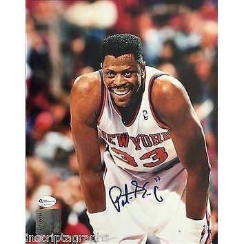 Patrick Ewing Signed 8X10 COA Online Authentics New York Knicks Autographed