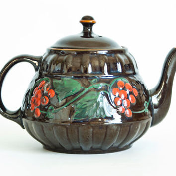 "Antique 1900s Gibsons Redware Teapot, Brown Betty ""Vine"" Tea Pot Made in England, Hand Painted Grapes, Edwardian Teapot"