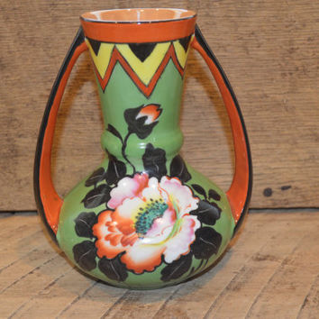 Vintage Flower Vase Hand Painted, Japanese Vase , Trico China Nagoya Japan , Vintage Green and Orange Vase, Mid Century Modern Vase