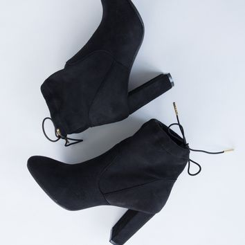 Drawstring Heeled Booties