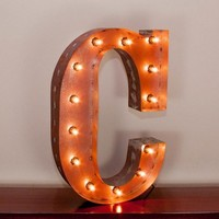 """24"""" Letter C Lighted Vintage Marquee Letters with Screw-on Sockets"""