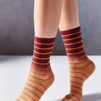 Striped Dip Dye Crew Sock- Red Multi One