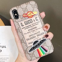 GUCCI Tide brand classic embroidery UFO iphone xs max leather 8plus half pack phone case Khaki
