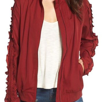 Treasure & Bond | Ruffle Sleeve Bomber Jacket