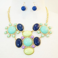 Bubble Bib Statement Necklace & Earrings Set