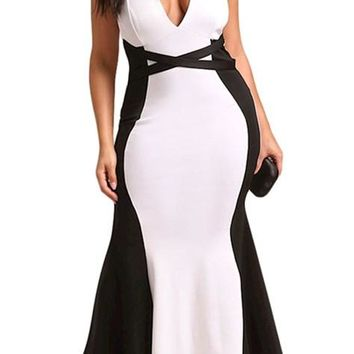 Plus Size Color Block Cross Strap Maxi Party Gown