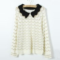 Beige Striped Round Neck Sweater$44.00