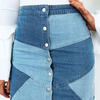 Patch Things Up Skirt: Denim