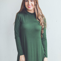 Long Sleeve Mock Neck Dress in Green