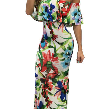 Slash Shoulder Floral Maxi Dress