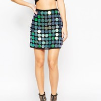 ASOS NIGHT Mini Skirt with Holographic Disc Sequins at asos.com