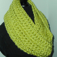 Infinity Scarf Cowl Long Handmade Crochet Bulky Acrylic Yarn Chartreuse Light Lime Green