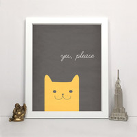 Yes, Please - Pet Print, Modern Wall Art, Printable Typography Print, Instant Download 5x7, 8x10, 11x14