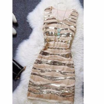 Vintage Sequin Striped Slim Sleeveless Dress
