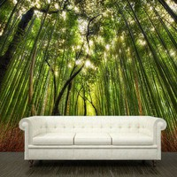 "Wall sticker bamboo forest green trees path way mural 108x126""/3.2x2.7"