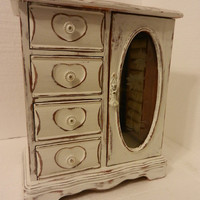 Vintage tall jewelry box -- shabby distressed custom hand painted -- with drawers, door, mirror, jewelry hanger, ring holder -- under 50
