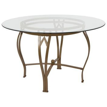 Syracuse 48'' Round Glass Dining Table with Matte Gold Metal Frame