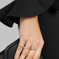 CristinaOrtiz | 9-karat rose gold diamond two-finger ring | NET-A-PORTER.COM