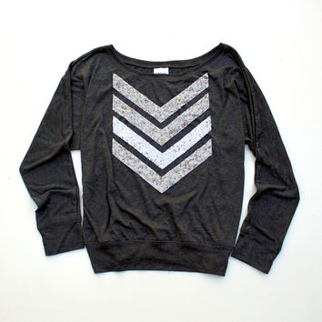 Sequin Chevron Dolman Tee - Available in 3 Colors
