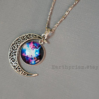 Blue Pink White Moon Galaxy Space Nebula Glass Cabochon Pendant Necklace