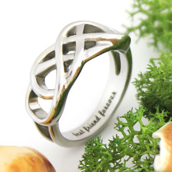 """Best Friends Ring, Double Infinity Ring """"Best Friend Forever"""" Message on Inside"""