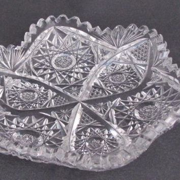 American Brilliant Period Cut Glass small blow out dish   Antique