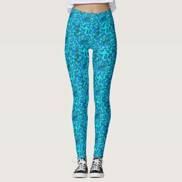 Abstract Blue Gray Camouflage Print Pants Leggings