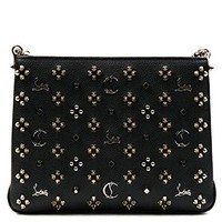 Wiberlux Christian Louboutin Women's Metal Logo With Pointed Stud Detail Chain Strap Bag