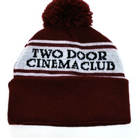 Two Door Cinema Club Logo Bobble Hat (Burgundy/White) | The Official Webstore for Two Door Cinema Club Merchandise