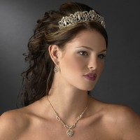 Regal Gold Plated Rhinestone Wedding and Quinceanera Tiara