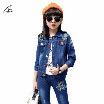 Trendy FYH Autumn Spring School Girls Denim Clothing Set Jean Jacket+Denim Pants Jeans 2pcs Children Girls Denim Suit Kids Clothing Set AT_94_13