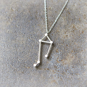 Libra Zodiac Sign Necklace / silver plated brass or sterling silver