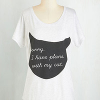 Cats Mid-length Short Sleeves Fit & Flare Caturday Night Tee
