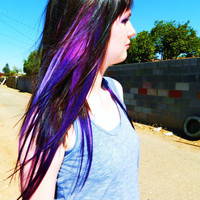 Human Hair Extensions Purple Ombre Extensions, Clip In Hair, Dip Dye Tye Dye Purple Pastel