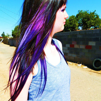 Purple Galaxy Ombre Hair Extensions, Clip in Hair Extensions, Human Hair Extensions