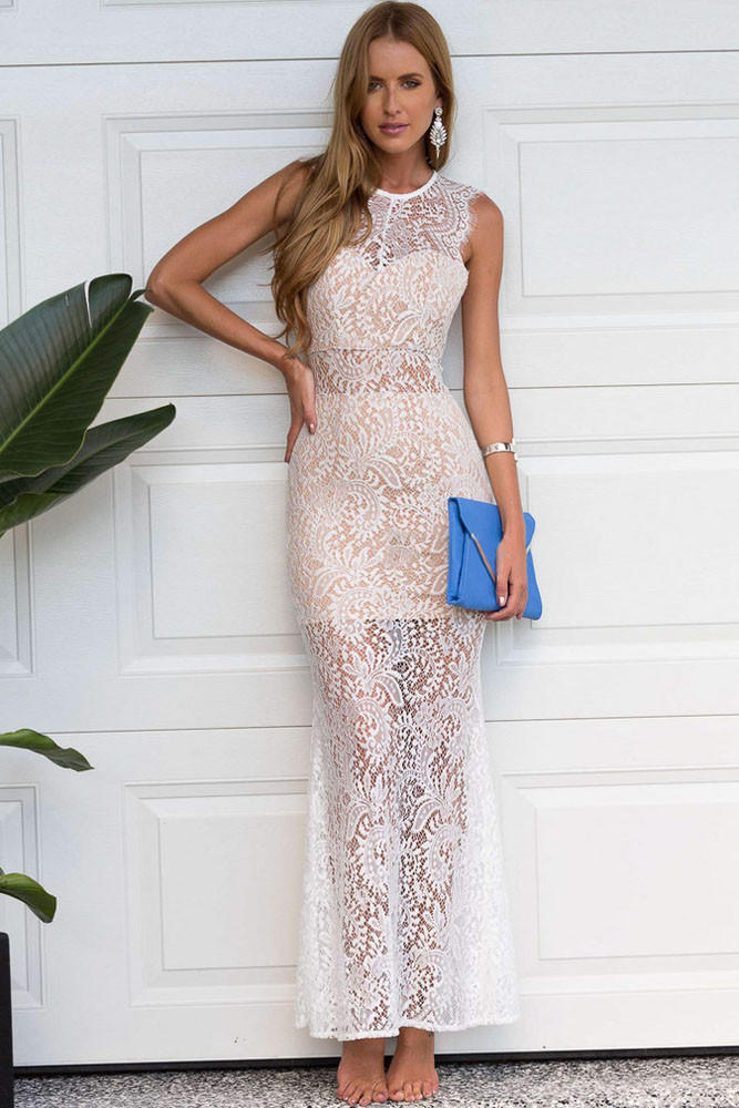 White Sheer Lace Overlay Maxi Dress From Shop Vivan Newest