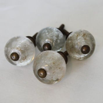 Glass Knobs, Anique Replica, Aged Brass, French, Cottage, Romantic, Shabby Chic