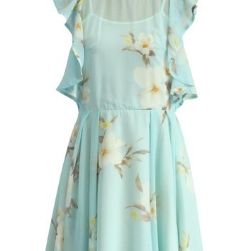 Frilling Watercolor Floral Dress in Icy Blue