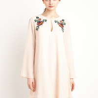 Beige Long Sleeve Floral Print Embroidered Lace Dress