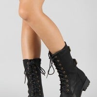Timberly-02 Lace Up Military Mid Calf Boot