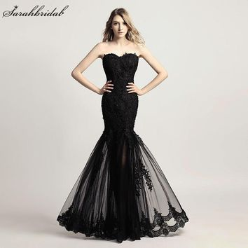 Illusion Mermaid Prom Dresses Real Photo Sweetheart Beads Sequins Black Lace Party Gown Real Photos Longo SLD310